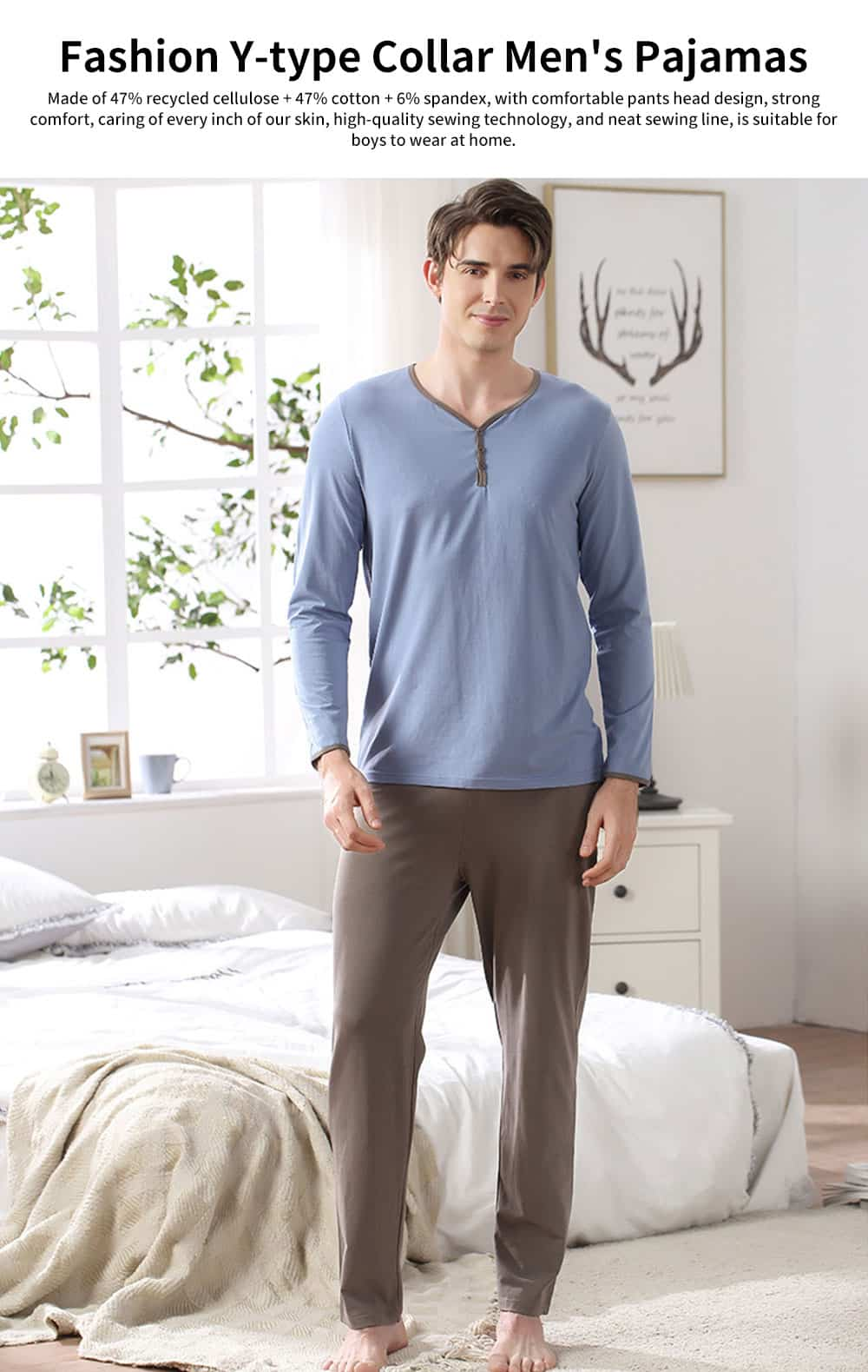 Fashion Y-type Collar Men's Cotton Long-sleeved Pajamas, Contrast Color Comfortable Knit Tracksuit 0