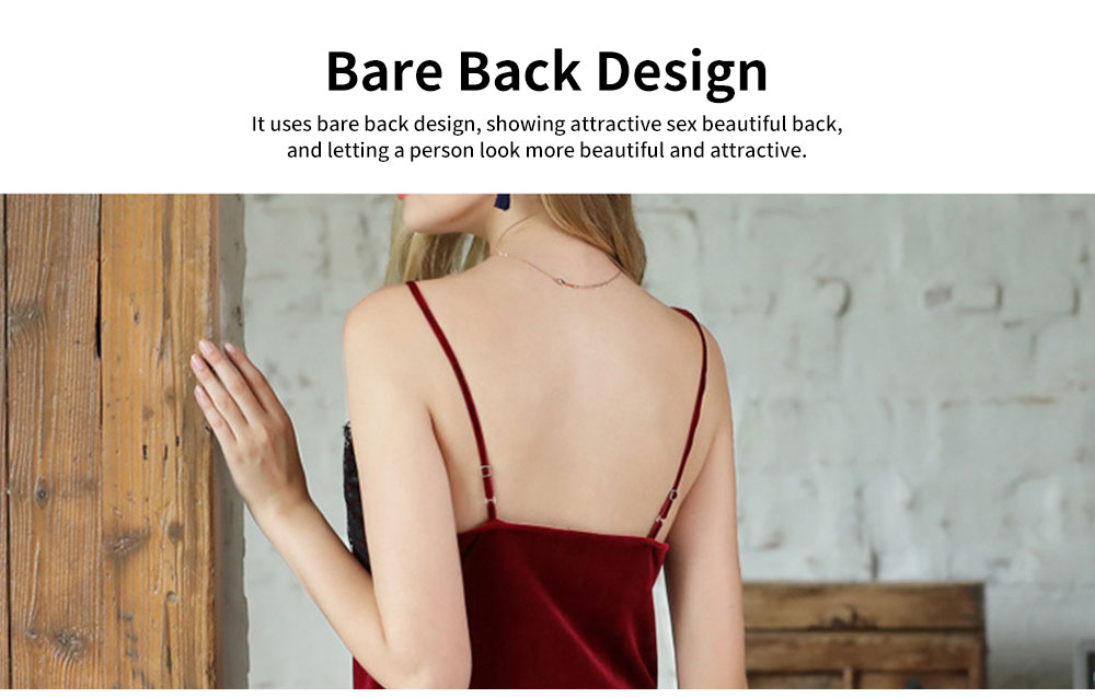 Breathable Soft Gold Velvet Pajamas Ladies Long Lace Sling Slit Nightdress with Bare Back Design for Winter 1