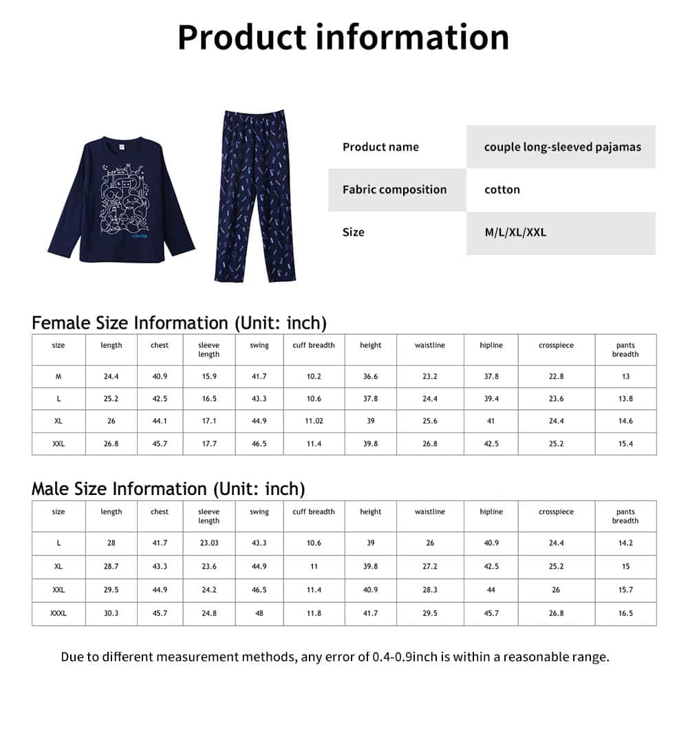 Round Neckline Collar Couple Long-sleeved Pajamas, Cotton Fabric Casual Tracksuit Suit 7