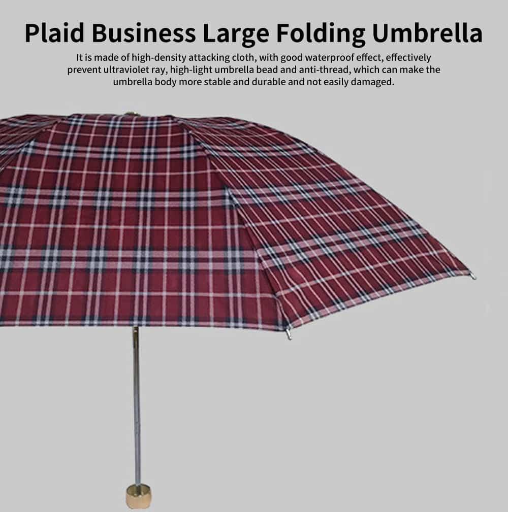 Reinforced Rain Dual-use Umbrella, Plaid Business Large Folding Umbrella, Men and Women in The Sun Umbrella 0