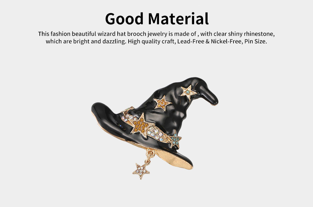 Women Brooch Creative Mini Wizard Hat Diamond Alloy Brooch Pin Lady Fashion Accessories Best Gift For Party Anniversary 1