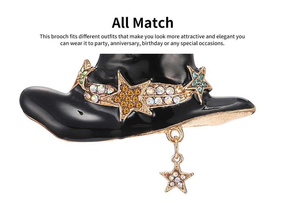 Women Brooch Creative Mini Wizard Hat Diamond Alloy Brooch Pin Lady Fashion Accessories Best Gift For Party Anniversary 3