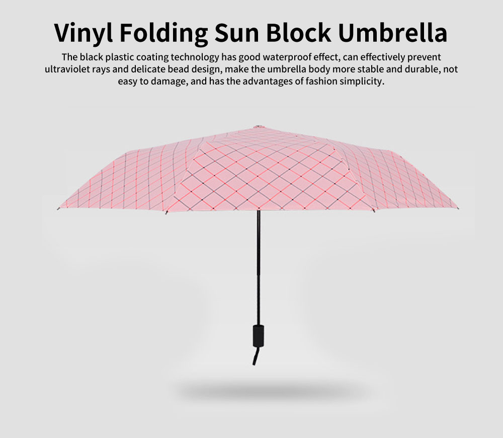 Vinyl Folding Sun Block Umbrella, Korean Little Fresh Lady Sun Umbrella, Striped Cross Sun Umbrella 0