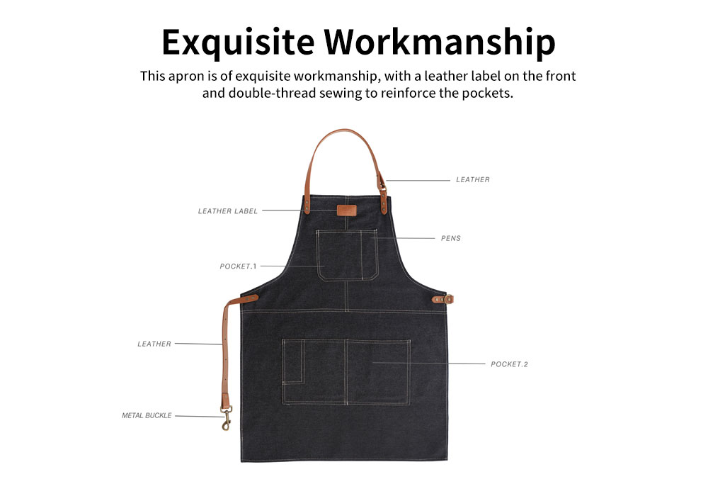 Dirty Resistant Cotton Apron with Pocket, PU Leather Strap, Northern Europe Industry Style Cotton Apron for Baking Cooking 5