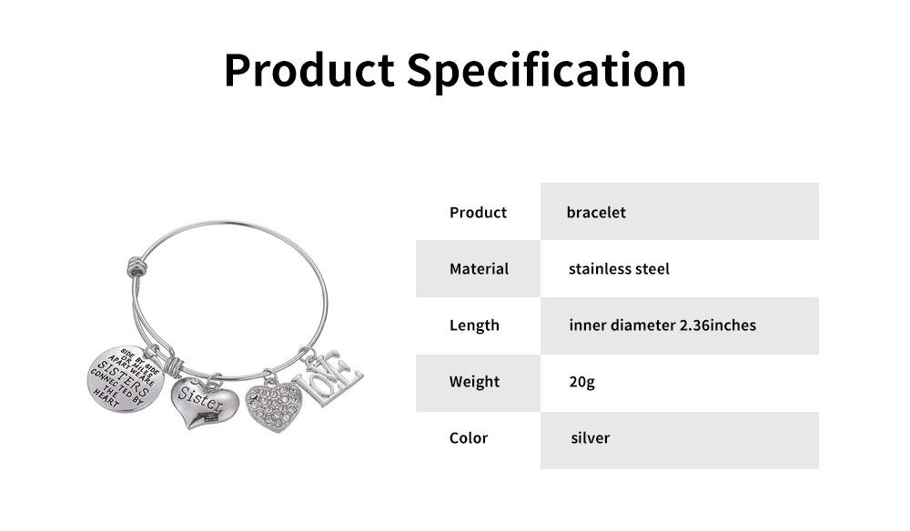Heart Shape Sister Lettering Women Bracelet, Plated Stainless Steel Bangle Elegant Charm Bracelets Best Gifts 12