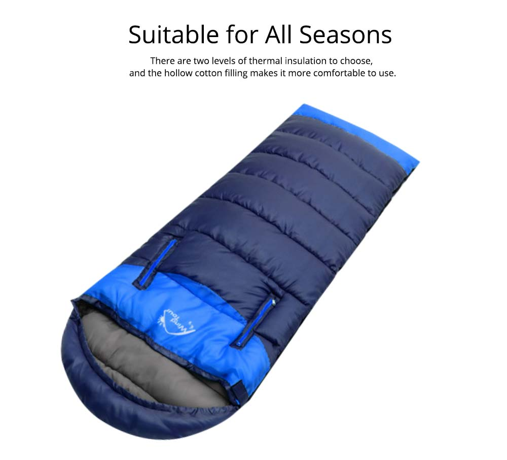 Outdoor Double Splicing Envelope Sleeping Bag for Camping, Thickened Cotton Warm Stretch Hand Sleeping Bag for Traveling Spring Autumn 3