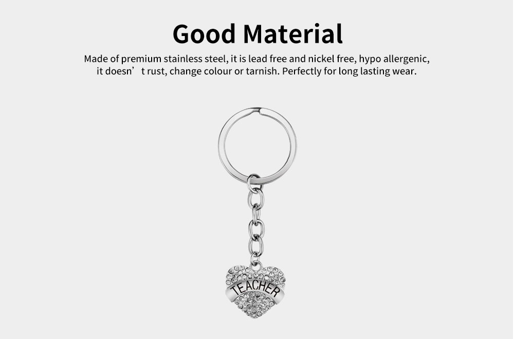 Fashionable Simple Keychain Plated Stainless Steel Pendant Key Ring Diamond Fashion Accessories Thanksgiving Gift For Teacher Instructor 7