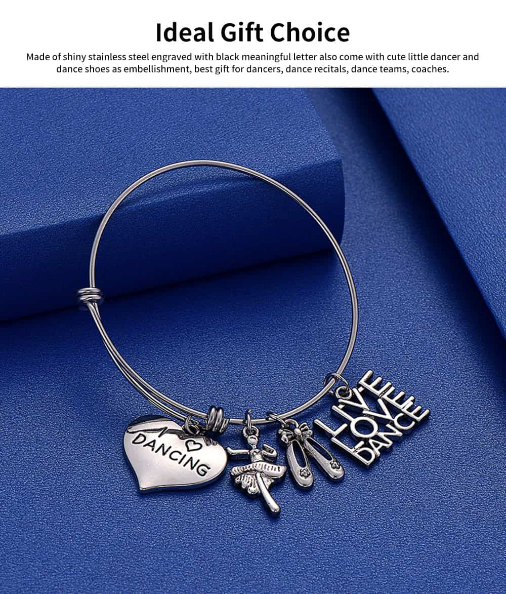Simple Lettering Women Bracelet, Plated Stainless Steel Fashion Jewelry Accessories Elegant Adjustable Bangle Birthday Gift for Dancer 4