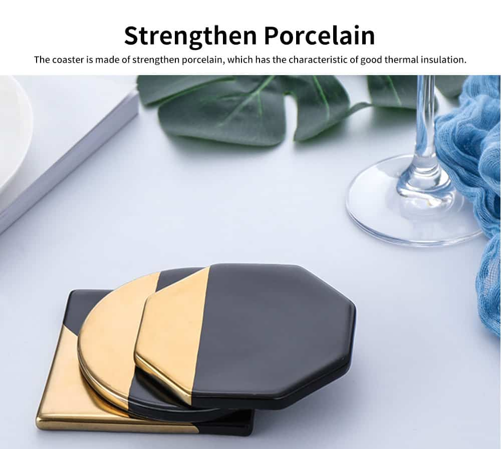 Gold Marble Coasters Ceramic Coaster Tea Cup Pad, Northern Europe Style Non-slip Heat Insulation Coaster for Household 2