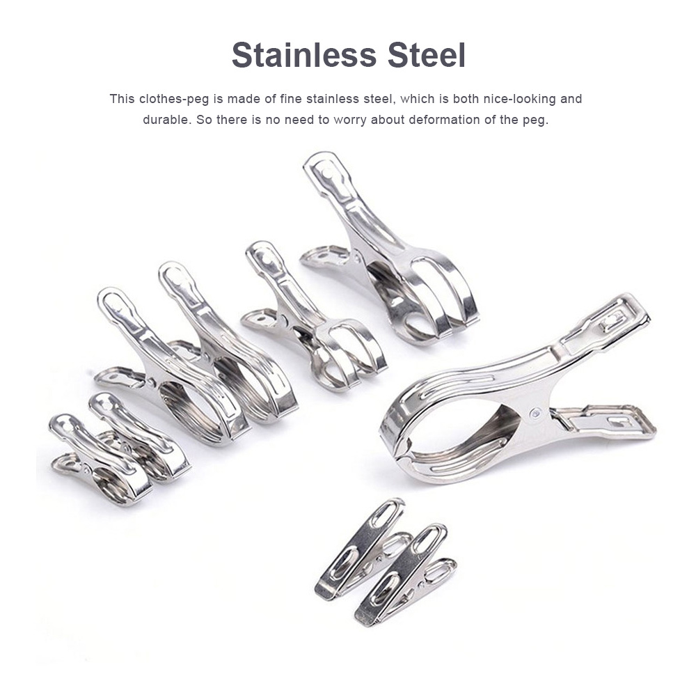 Stainless Steel Clothes-peg Windproof Large Metal Clip for Quilts, Socks, Towels and Sheets Hanging Pins Clips Laundry Clamps 5