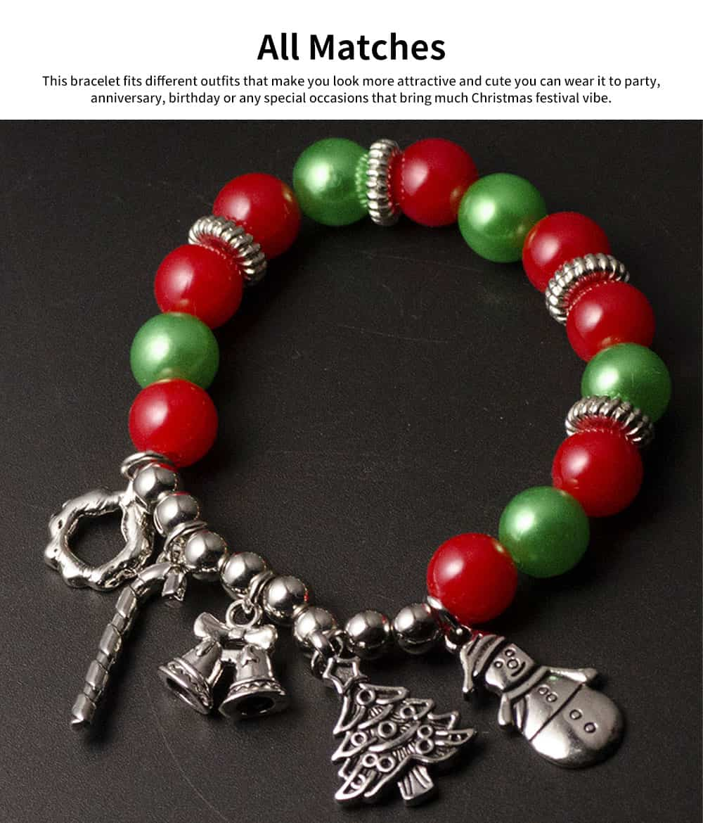 DIY Christmas Tree Snowman Bracelet Plated Stainless Steel & Alloy Beads Bangle Best Christmas Gift 1