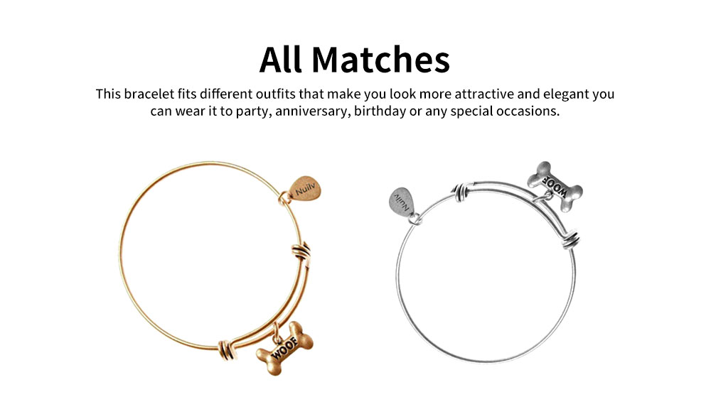 Dog Bone Bracelet Retro Pendant Plated Alloy Bangle Fashion Jewelry Accessories Adjustable Personality Thin Bracelets Best Gifts 1