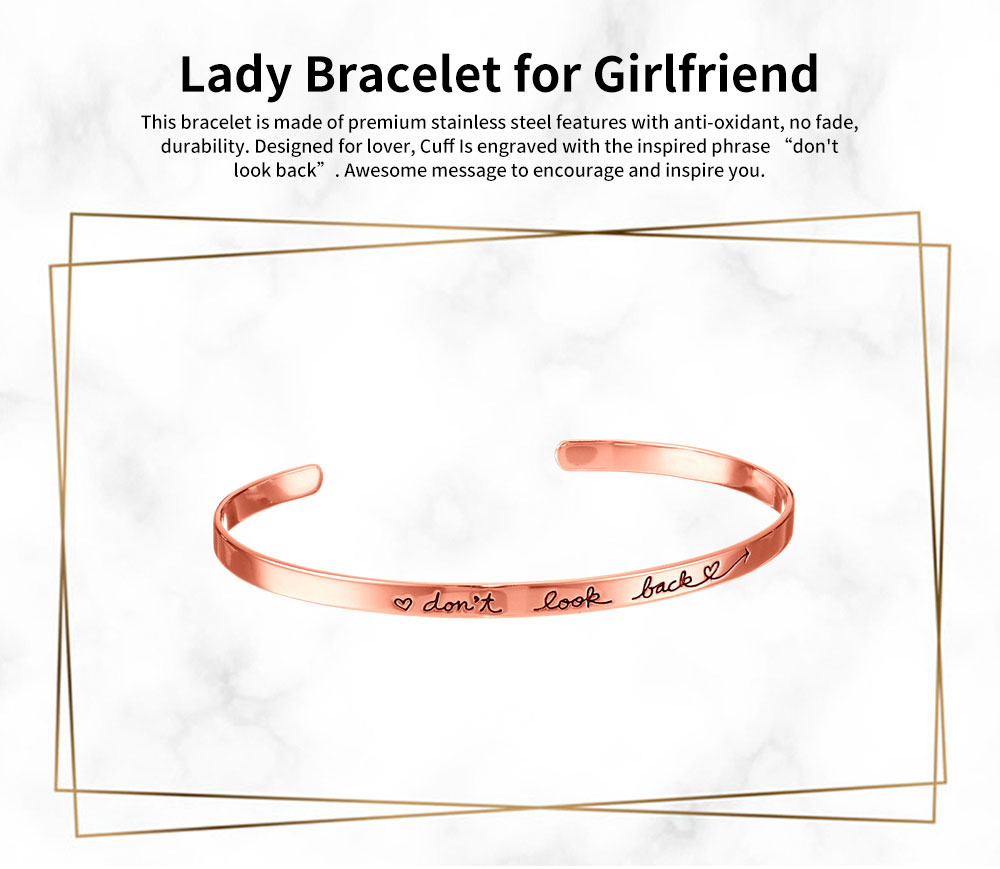 Simple Lettering Unisex Bracelet Plated Stainless Steel Bangle Fashion Jewelry Accessories Elegant Inspired Bracelets Best Gifts 0
