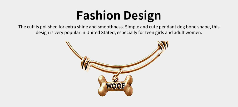 Dog Bone Bracelet Retro Pendant Plated Alloy Bangle Fashion Jewelry Accessories Adjustable Personality Thin Bracelets Best Gifts 5