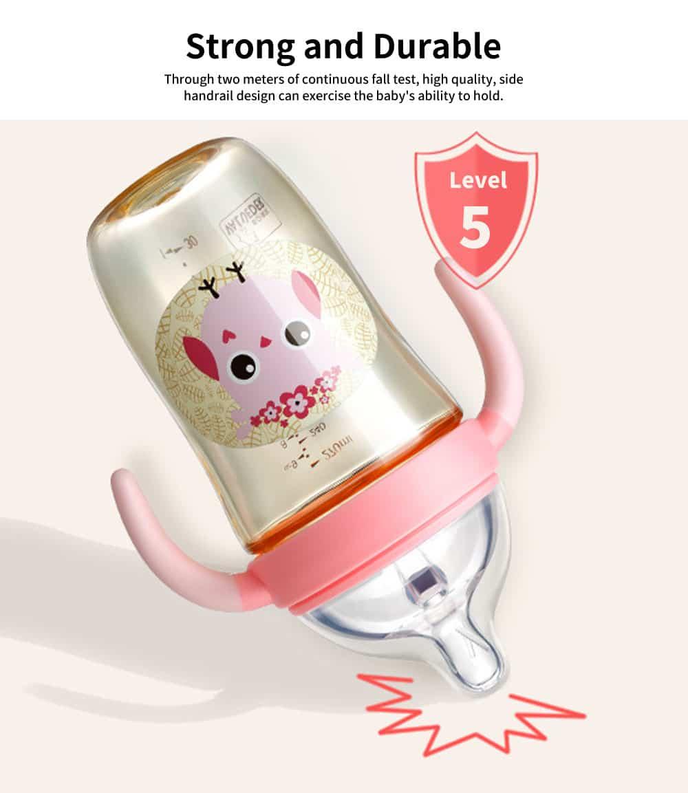 Newborn PPSU Milk Bottle, Anti Fall Wide Bore Baby Milk Bottle with Handle Straw, Baby Silicone Milk Bottle 270ML 5