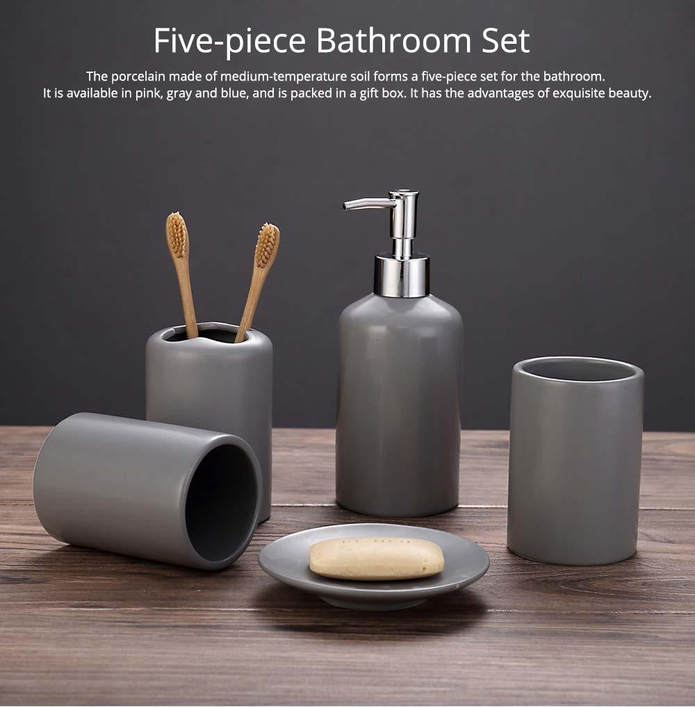 Five-piece Bathroom Set, Porcelain Bathroom Accessory Set, Bathroom Products Shower Gift Box 0