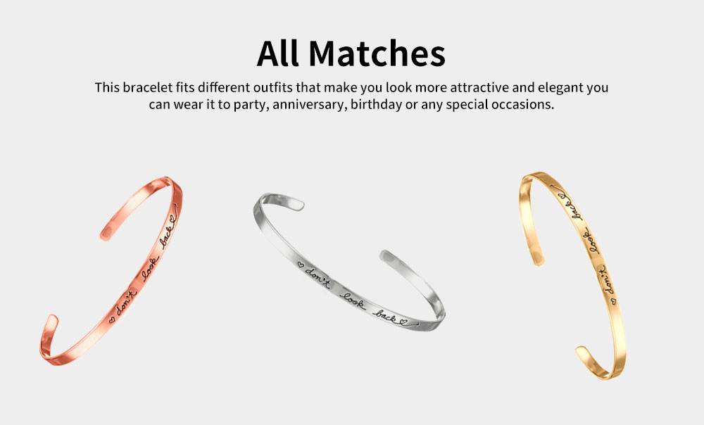 Simple Lettering Unisex Bracelet Plated Stainless Steel Bangle Fashion Jewelry Accessories Elegant Inspired Bracelets Best Gifts 4