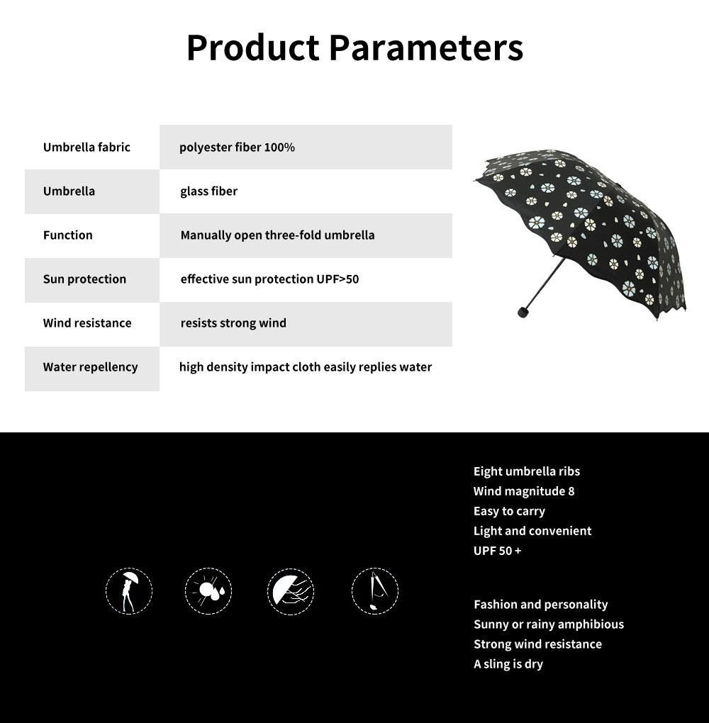 Creative Water Color Changing Umbrella, Vinyl Three-Fold Sunshade Sun Umbrella, Anti-UV Sun Umbrella 6