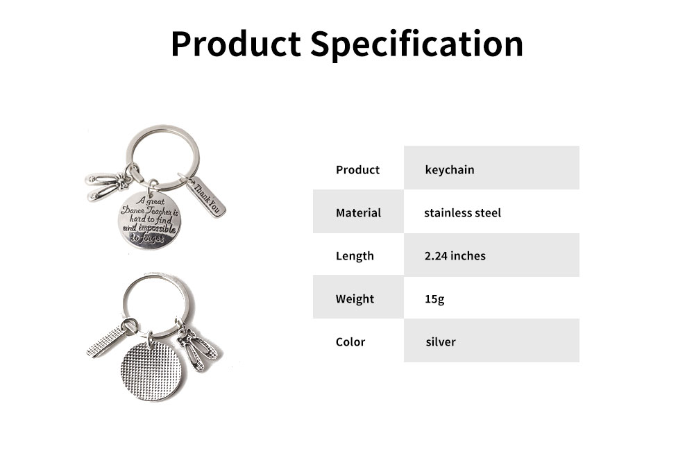 Personalized Pendant Key Ring, Stainless Steel Keychain Fashion Accessories Gift for Dance Teacher Instructor 6