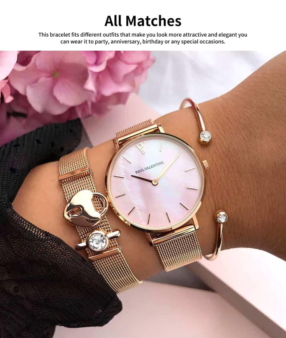 Lady Key Heart Padlock Mesh Bracelet, Charm Dress Bracelets Valentines Gift for Girlfriend 3