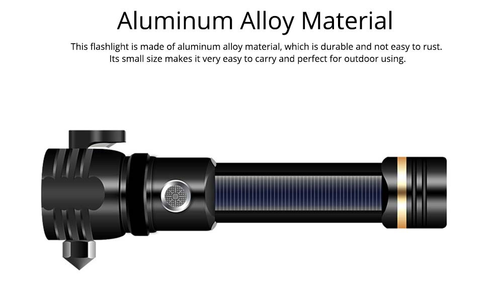 New Solar Flashlight LED Lithium Battery T6 Strong Light Emergency Hammer USB Rechargeable Aluminum Alloy Flashlight for Escaping 5