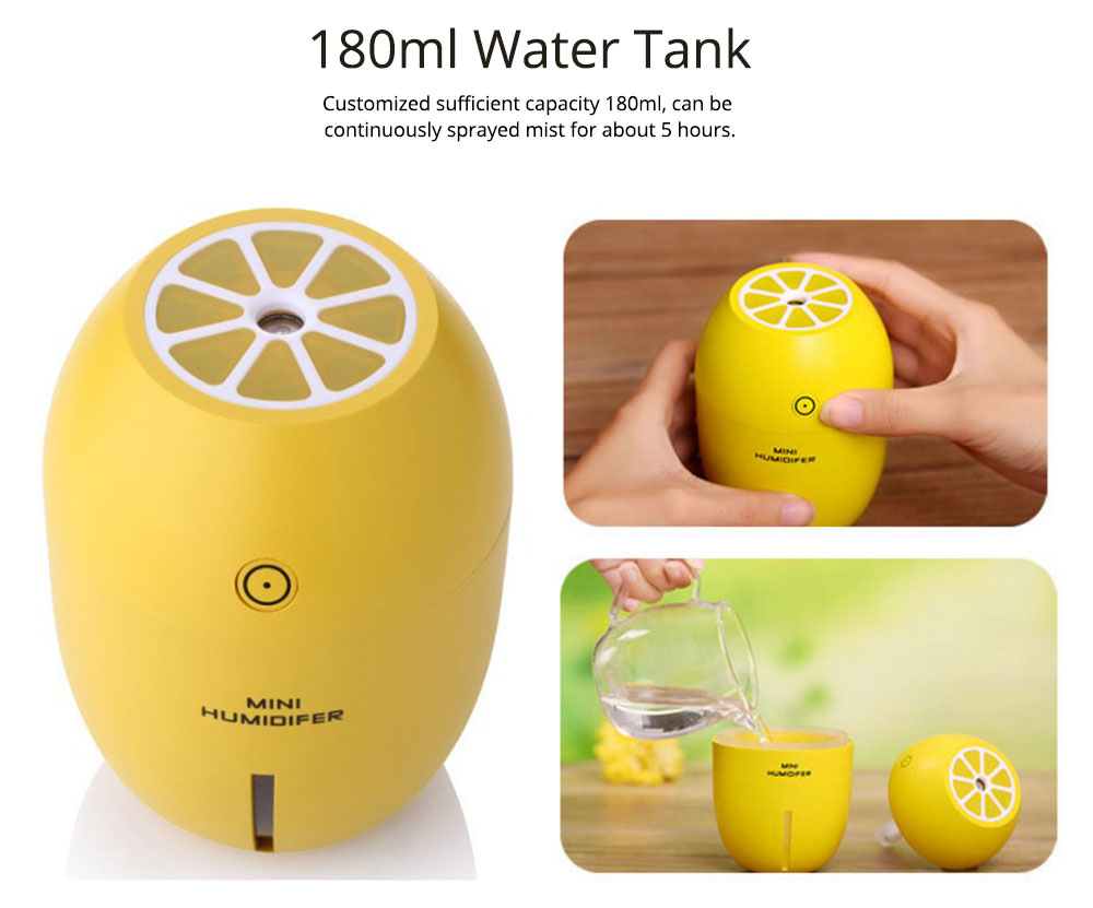 USB Oil Diffuser - Lemon LED Aroma Humidifier Air Aromatherapy - 4 Colors, 180ml 2
