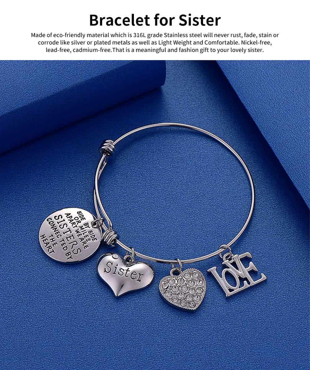 Heart Shape Sister Lettering Women Bracelet, Plated Stainless Steel Bangle Elegant Charm Bracelets Best Gifts 6