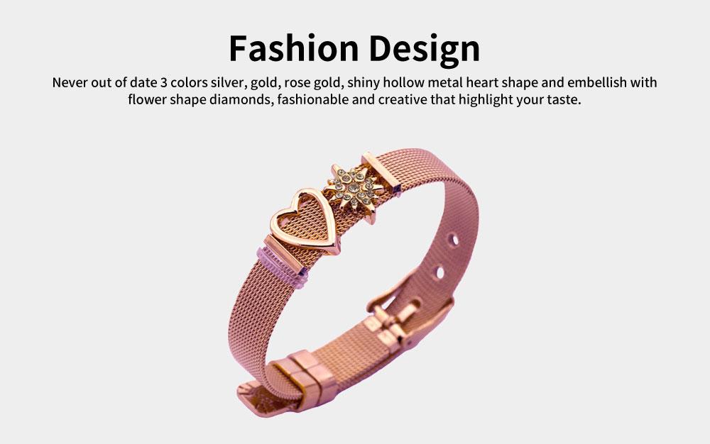 Heart Shaped Rhinestone Mesh Women's Bracelet, Plated Stainless Steel Creative Couple Bracelets Valentines Gift for Girlfriend 2