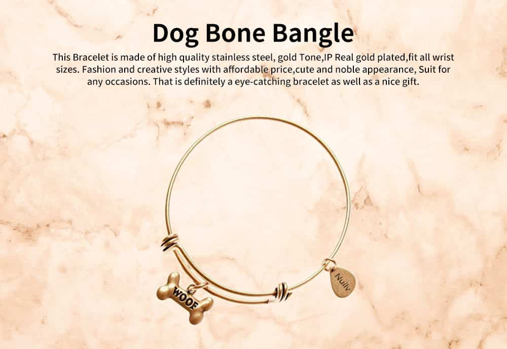 Dog Bone Bracelet Retro Pendant Plated Alloy Bangle Fashion Jewelry Accessories Adjustable Personality Thin Bracelets Best Gifts 0