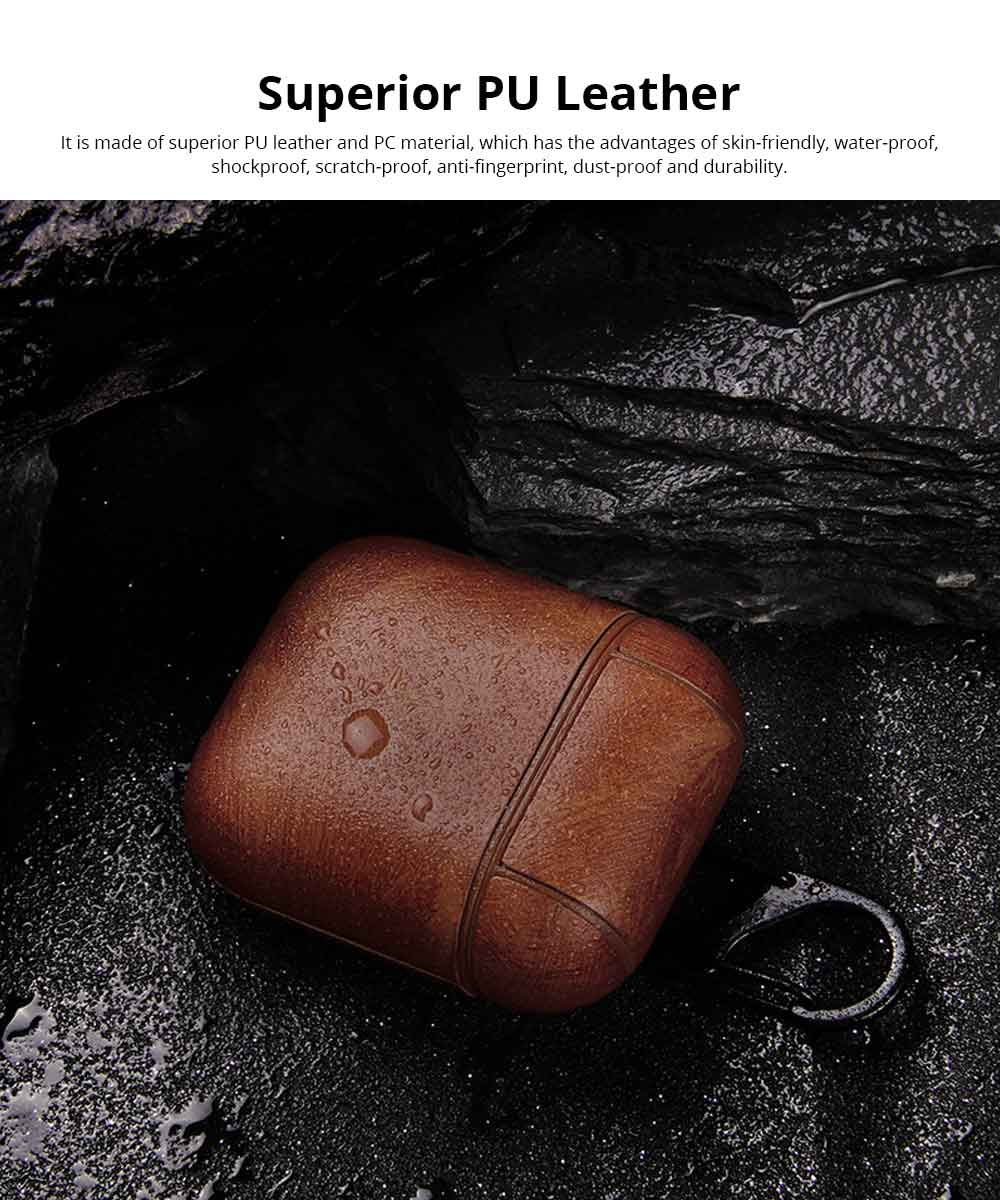 Luxury Leather Airpods Cover Strap Shockproof for Bluetooth Earphones, Minimalist Airpods Sleeve Pouch Cover Case with Hanging Ring 1