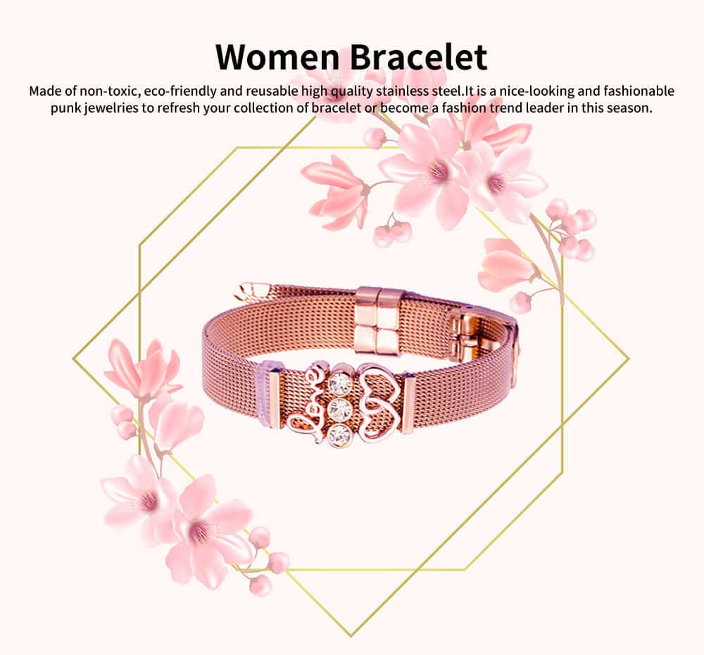 Heat Shape Crystal Mesh Women Bracelet, Plated Stainless Steel Fashion Jewelry Accessories Elegant Bangle For Female Lover 0
