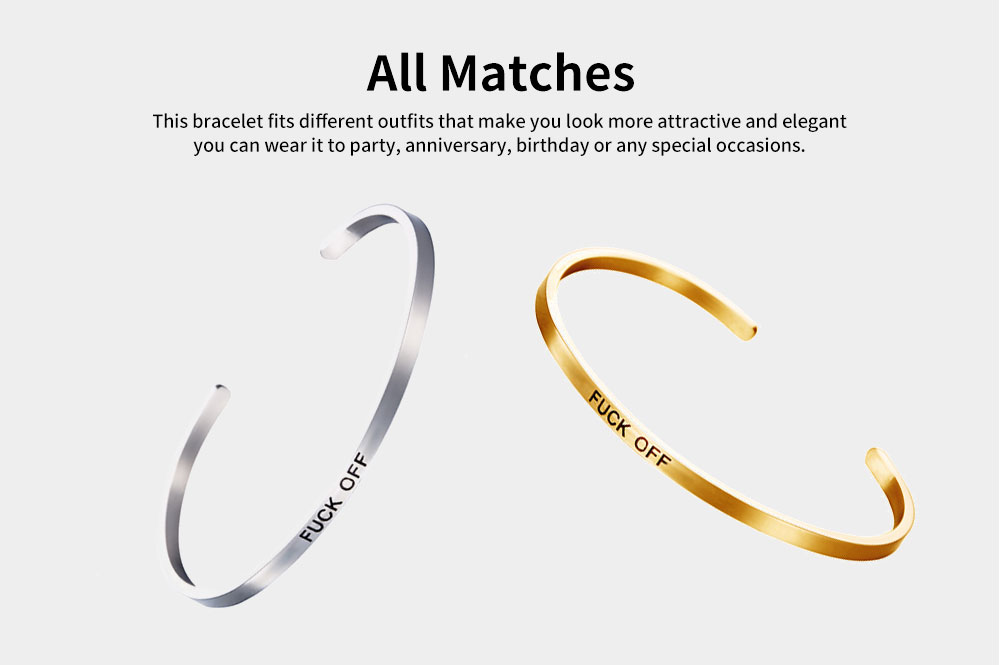 Unisex Opening Bracelets Simple Lettering Plated Stainless Steel Bangle Fashion Jewelry Accessories Personality Gifts 4