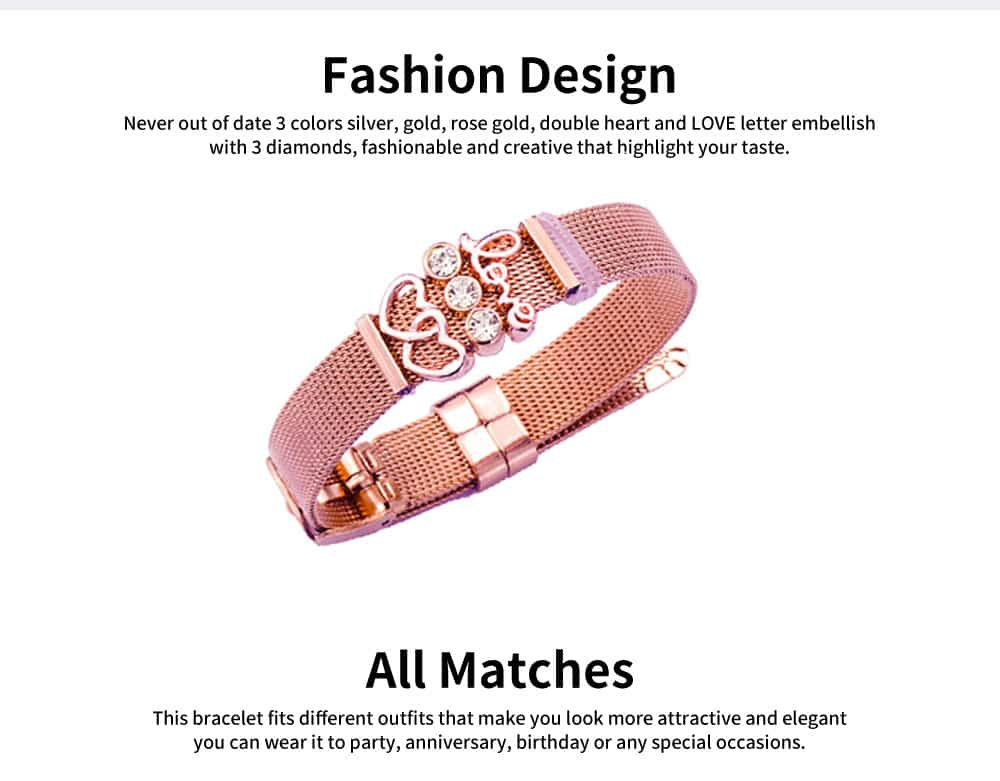 Heat Shape Crystal Mesh Women Bracelet, Plated Stainless Steel Fashion Jewelry Accessories Elegant Bangle For Female Lover 3