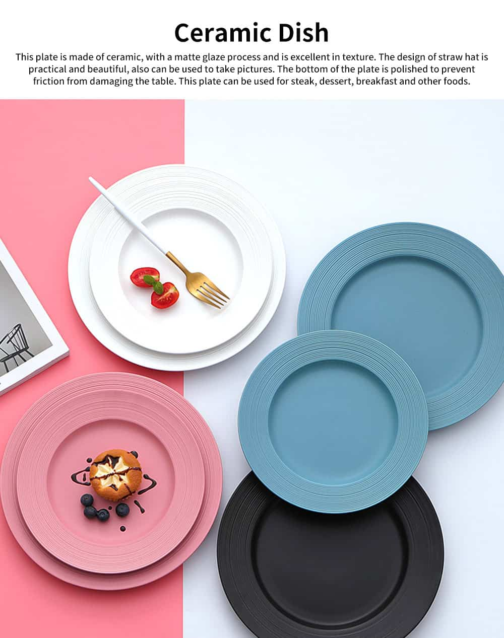 Northern Europe Style Creative Ceramic Dish Plate, Dessert Vegetable Steak Breakfast Round Dish for Household 1