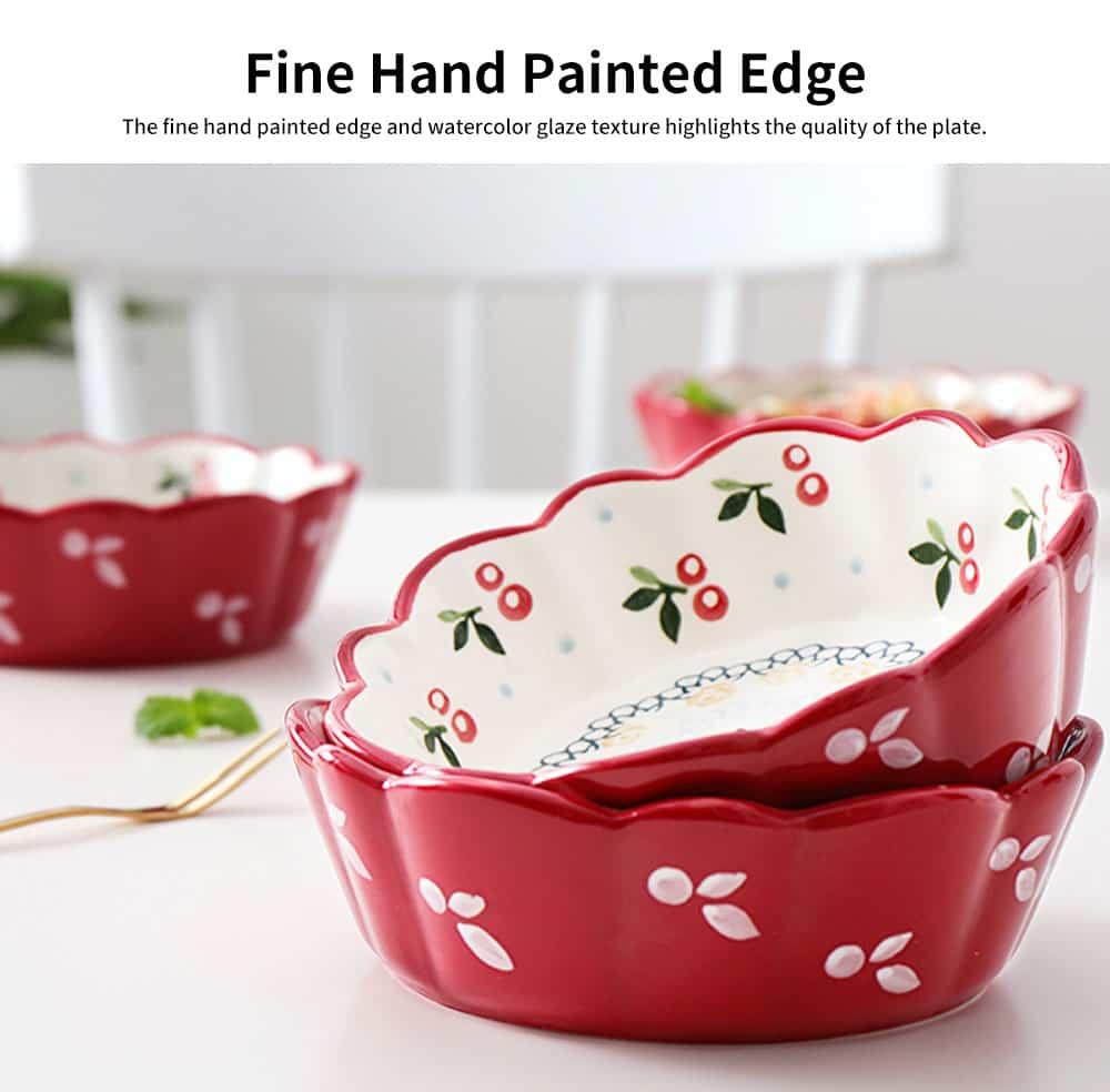Creative Hand Painted Cherry Little Ceramic Bowl, Snack Nest Bowl for Household Tableware Europe Style Fruit Salad Dessert Bowl 4