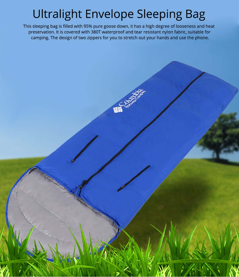 White Duck Down Outdoor Sleeping Bag Ultralight Portable Envelope Stretch Hand Warm Sleeping Bag for Adult Camping Hiking 0