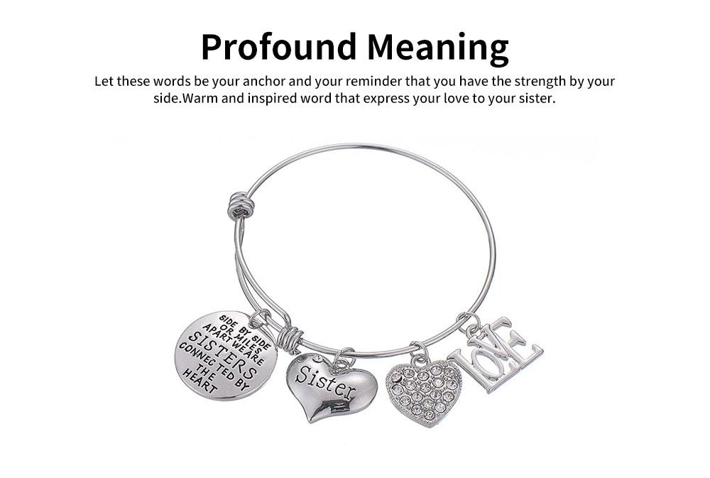 Heart Shape Sister Lettering Women Bracelet, Plated Stainless Steel Bangle Elegant Charm Bracelets Best Gifts 9
