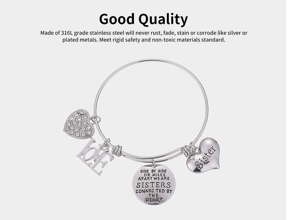 Heart Shape Sister Lettering Women Bracelet, Plated Stainless Steel Bangle Elegant Charm Bracelets Best Gifts 7