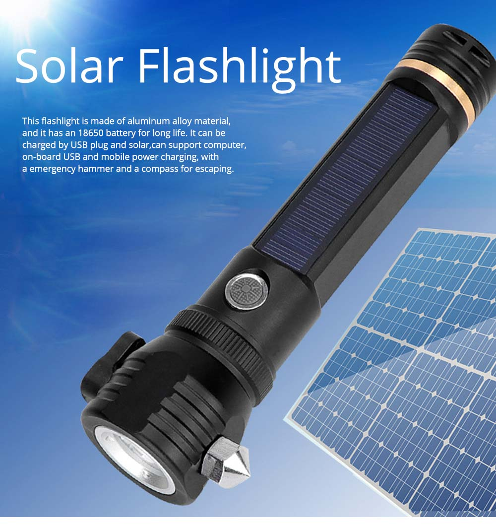 New Solar Flashlight LED Lithium Battery T6 Strong Light Emergency Hammer USB Rechargeable Aluminum Alloy Flashlight for Escaping 0