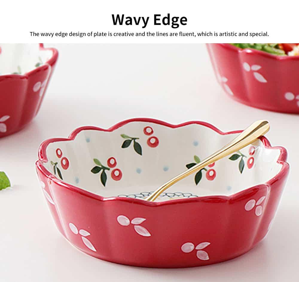 Creative Hand Painted Cherry Little Ceramic Bowl, Snack Nest Bowl for Household Tableware Europe Style Fruit Salad Dessert Bowl 3