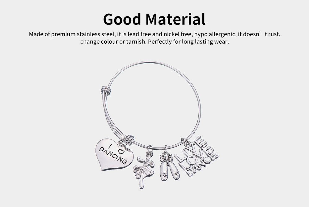 Simple Lettering Women Bracelet, Plated Stainless Steel Fashion Jewelry Accessories Elegant Adjustable Bangle Birthday Gift for Dancer 1