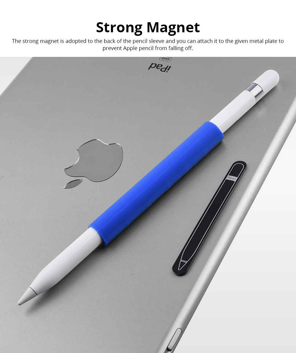 Anti-loss Anti-drop Magnet Pen Sleeve for Apple Pencil, Ultra-soft Skin-friendly Silicone Pencil Case Holder Pouch Protector Cover 6
