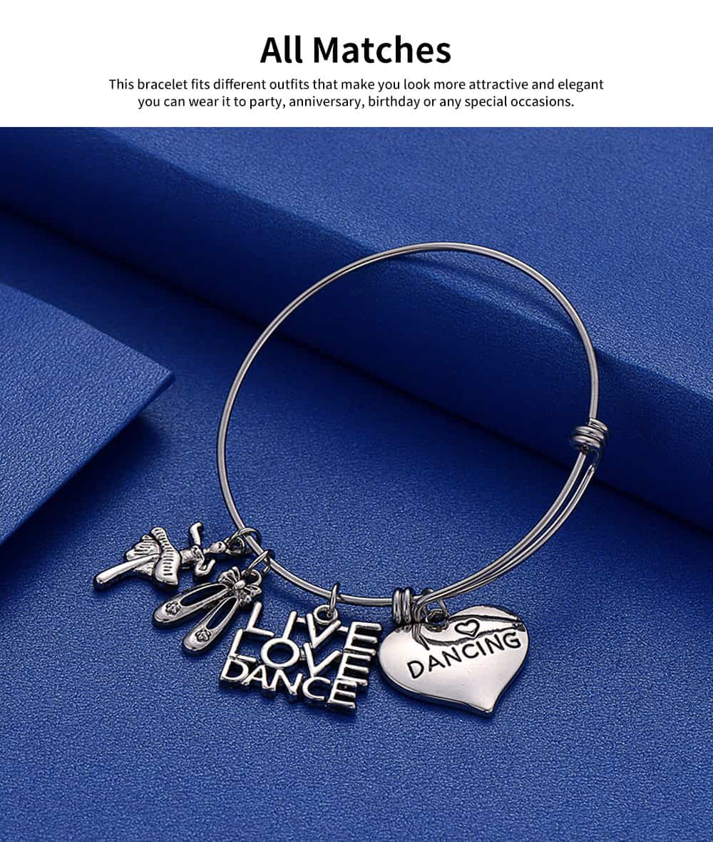 Simple Lettering Women Bracelet, Plated Stainless Steel Fashion Jewelry Accessories Elegant Adjustable Bangle Birthday Gift for Dancer 5