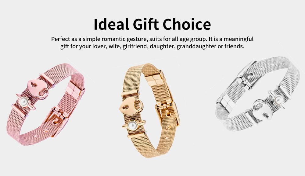 Lady Key Heart Padlock Mesh Bracelet, Charm Dress Bracelets Valentines Gift for Girlfriend 2