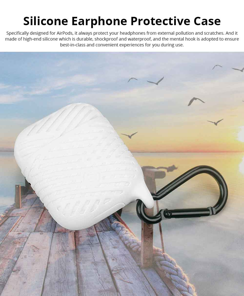 Ultra-smooth Silicone Case Cover for AirPods with Hook, Waterproof Shockproof Smooth Skin-friendly Charging Sleeve Pouch Box 0