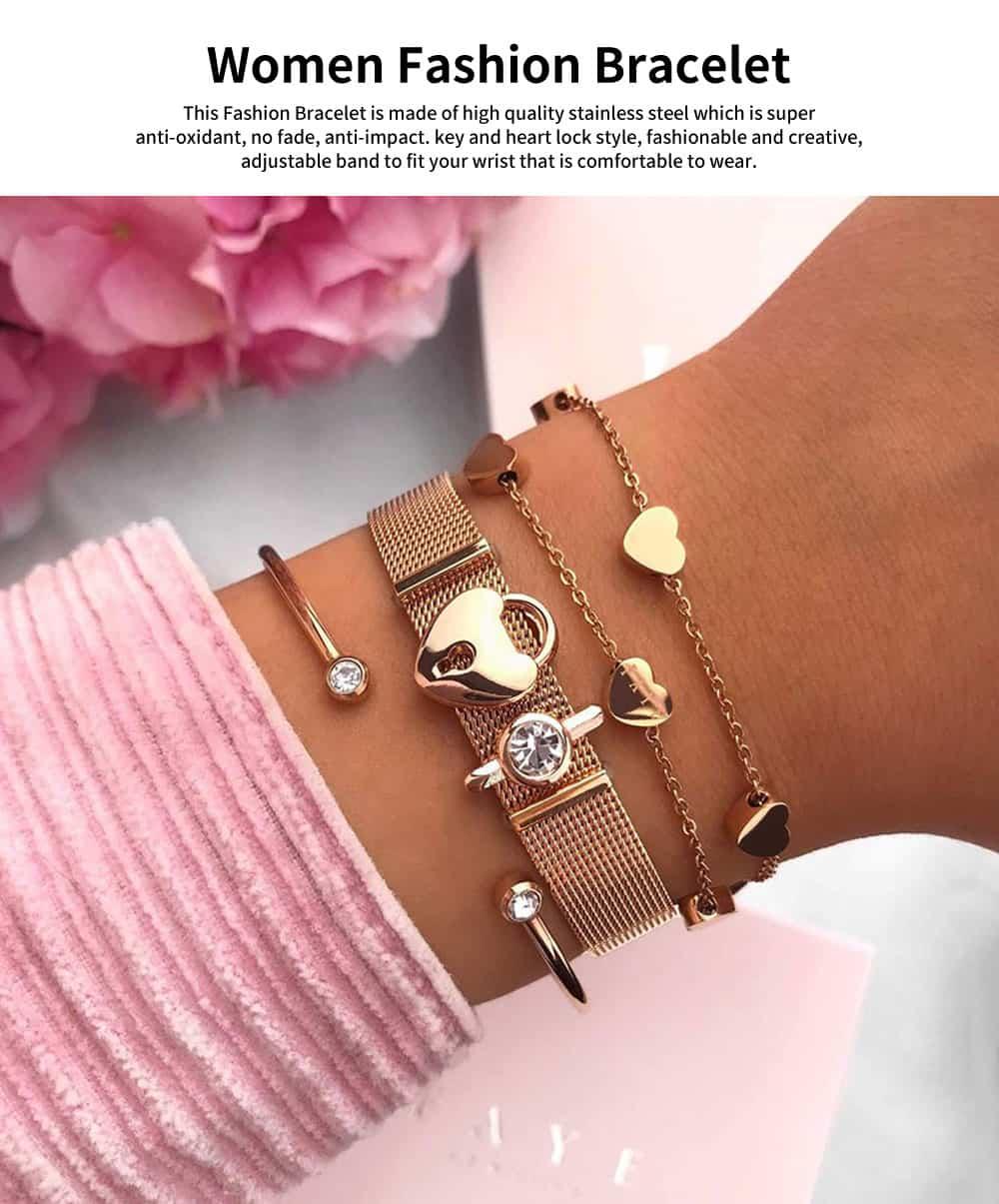 Lady Key Heart Padlock Mesh Bracelet, Charm Dress Bracelets Valentines Gift for Girlfriend 0