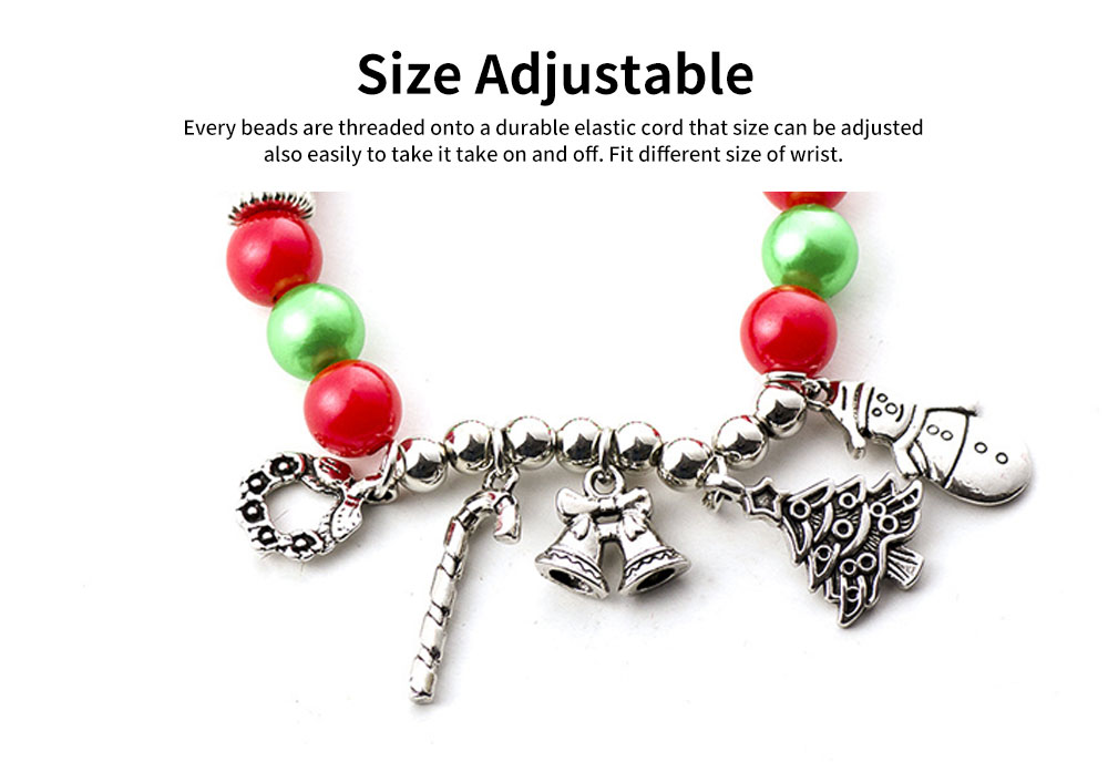DIY Christmas Tree Snowman Bracelet Plated Stainless Steel & Alloy Beads Bangle Best Christmas Gift 2