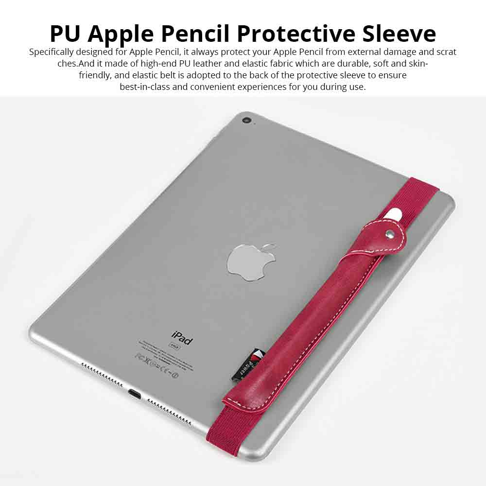Durable PU Leather Protective Sleeve Pouch for Apple Pencil with Elastic Belt, Luxury Leather Cover Case Protector Sleeve 0