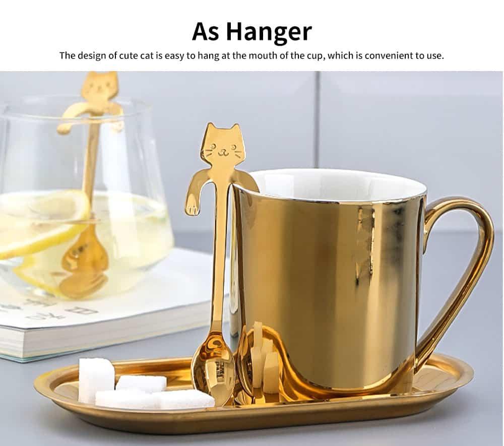 Stainless Steel Cute Cat Spoon Creative Hanging Cup Spoon Long Handle Stirring Spoon Dessert Ice Cream Tableware 3
