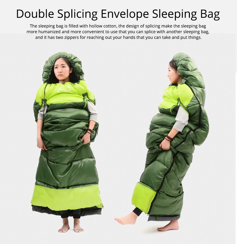 Outdoor Double Splicing Envelope Sleeping Bag for Camping, Thickened Cotton Warm Stretch Hand Sleeping Bag for Traveling Spring Autumn 0